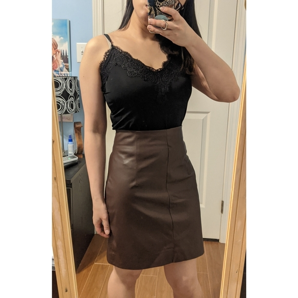 🌼 H&M Burgundy Faux Leather Skirt